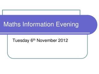 Maths Information Evening