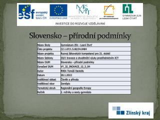 Slovensko – přírodní podmínky