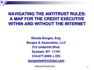 NAVIGATING THE ANTITRUST RULES:  A MAP FOR THE CREDIT EXECUTIVE WITHIN AND WITHOUT THE INTERNET