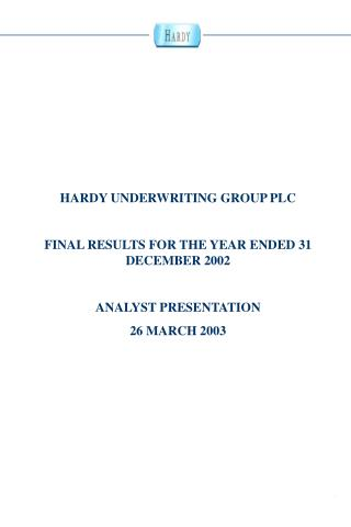 HARDY UNDERWRITING GROUP PLC FINAL RESULTS FOR THE YEAR ENDED 31 DECEMBER 2002