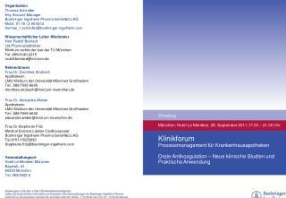 München, Hotel Le Meridien, 28. September 2011,17.00 – 21.00 Uhr