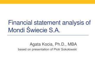 Financial statement analysis of Mondi Świecie S.A.