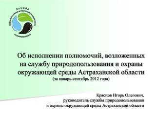 Краснов Игорь Олегович,  руководитель службы природопользования