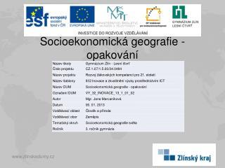 Socioekonomická geografie - opakování