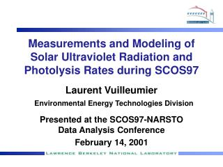 Measurements and Modeling of Solar Ultraviolet Radiation and Photolysis Rates during SCOS97