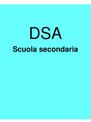 DSA Scuola secondaria