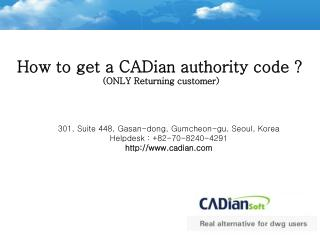 How to get a CADian authority (Returning client)