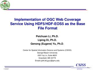 Implementation of OGC Web Coverage Service Using HDF5