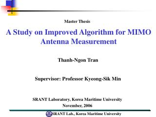 A Study on Improved Algorithm for MIMO Antenna Measurement
