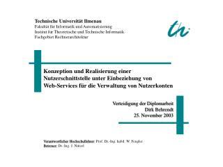 Technische Universität Ilmenau Fakultät für Informatik und Automatisierung