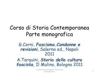 Corso di Storia Contemporanea Parte monografica