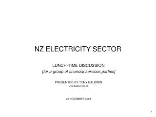 NZ ELECTRICITY SECTOR