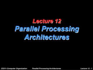 Lecture 12 Parallel Processing Architectures