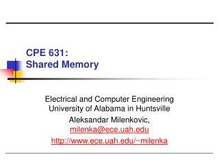 CPE 631:  Shared Memory