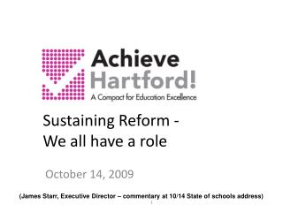Sustaining Reform -  We all have a role