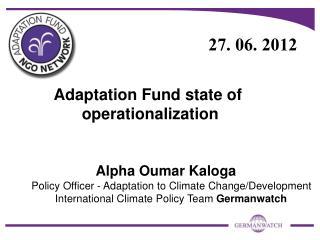Adaptation Fund state of   operationalization