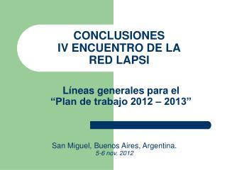 CONCLUSIONES IV ENCUENTRO DE LA RED LAPSI