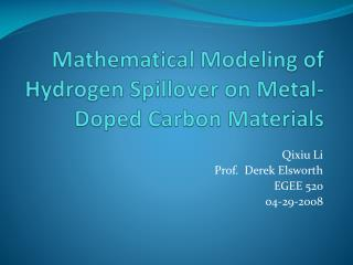 Mathematical Modeling of Hydrogen Spillover on Metal-Doped Carbon Materials