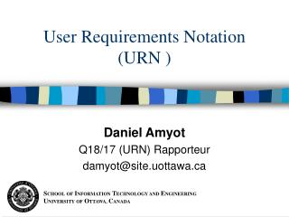 User Requirements Notation (URN )