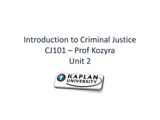Introduction to Criminal Justice CJ101   Prof Kozyra Unit 2