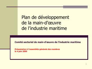 Plan de développement  de la main-d'œuvre de l'industrie maritime