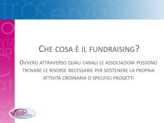 Che cosa è il fundraising?