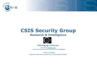CSIS Security Group Research & Intelligence