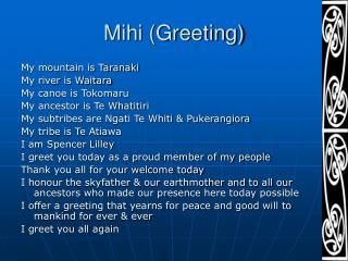 Mihi (Greeting)