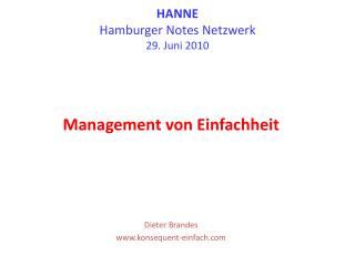 HANNE Hamburger Notes Netzwerk 29. Juni 2010