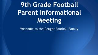 9th Grade Football Parent Informational Meeting