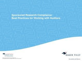 Sponsored Research Compliance: Best Practices for Working with Auditors