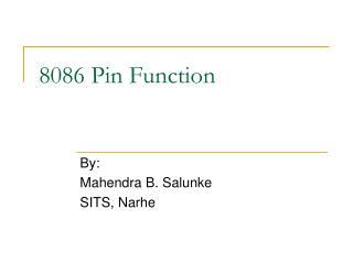 8086 Pin Function