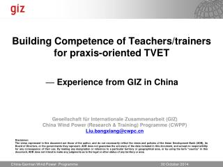 Building Competence of Teachers/trainers for praxis-oriented TVET