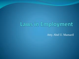 Laws in Employment
