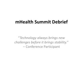 mHealth Summit Debrief