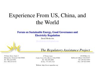 Experience From US, China, and the World