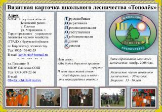 Визитная карточка школьного лесничества «Тополёк»