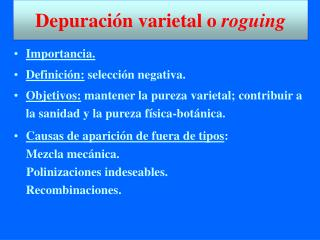 Depuración varietal o  roguing