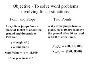 Objective - To solve word problems involving linear situations.