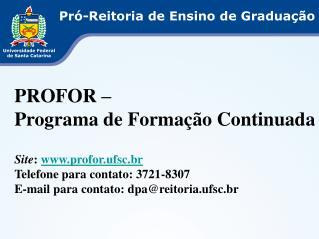 Pró-Reitoria de Ensino de Graduação