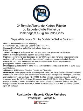 Data : 11 de setembro de 2005 (domingo) Local : Ginásio de Aeróbica do Esporte Clube Pinheiros
