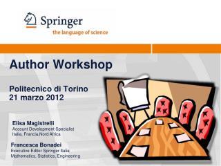 Author Workshop Politecnico di Torino 21 marzo 2012