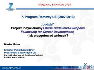 Marta Muter Krajowy Punkt Kontaktowy  Programów Badawczych UE