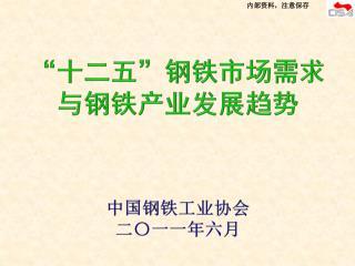 """"""" 十二五 """" 钢铁市场需求 与钢铁产业发展趋势 中国钢铁工业协会 二〇一一年六月"""