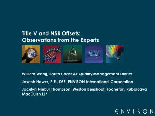 Title V and NSR Offsets: Observations from the Experts