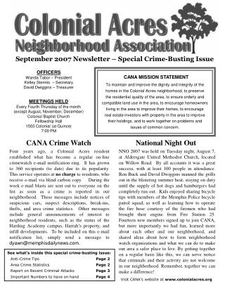 September 2007 Newsletter – Special Crime-Busting Issue