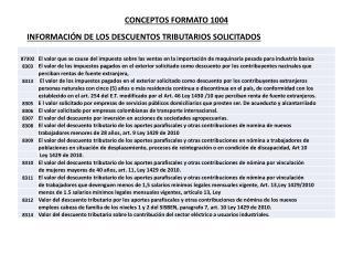 INFORMACIÓN DE LOS DESCUENTOS TRIBUTARIOS SOLICITADOS