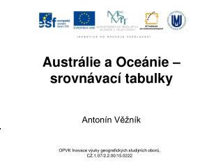 Austrálie a Oceánie – srovnávací tabulky