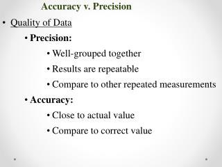 Quality of Data Precision: Well-grouped together Results are repeatable