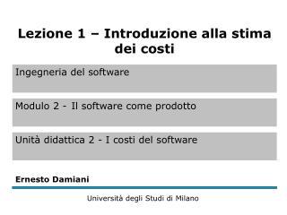Stima dei costi (1)